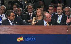 Escena del altercado verbal entre el rey Juan Carlos y Hugo Chávez.Foto: Reuters